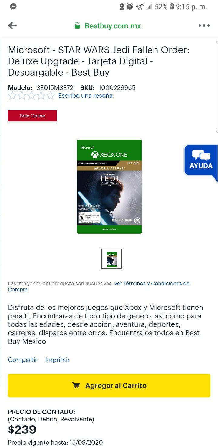 Best Buy: Star Wars: Jedi Fallen Order MEJARA DELUXE para Xbox One