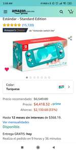 Amazon: Nintendo Switch Lite Turquesa- Edición Estándar - Standard Edition