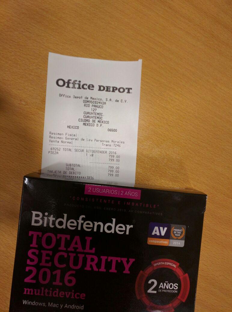 Office Depot: 2 años de Bitdefender Total Security 2016 por $799