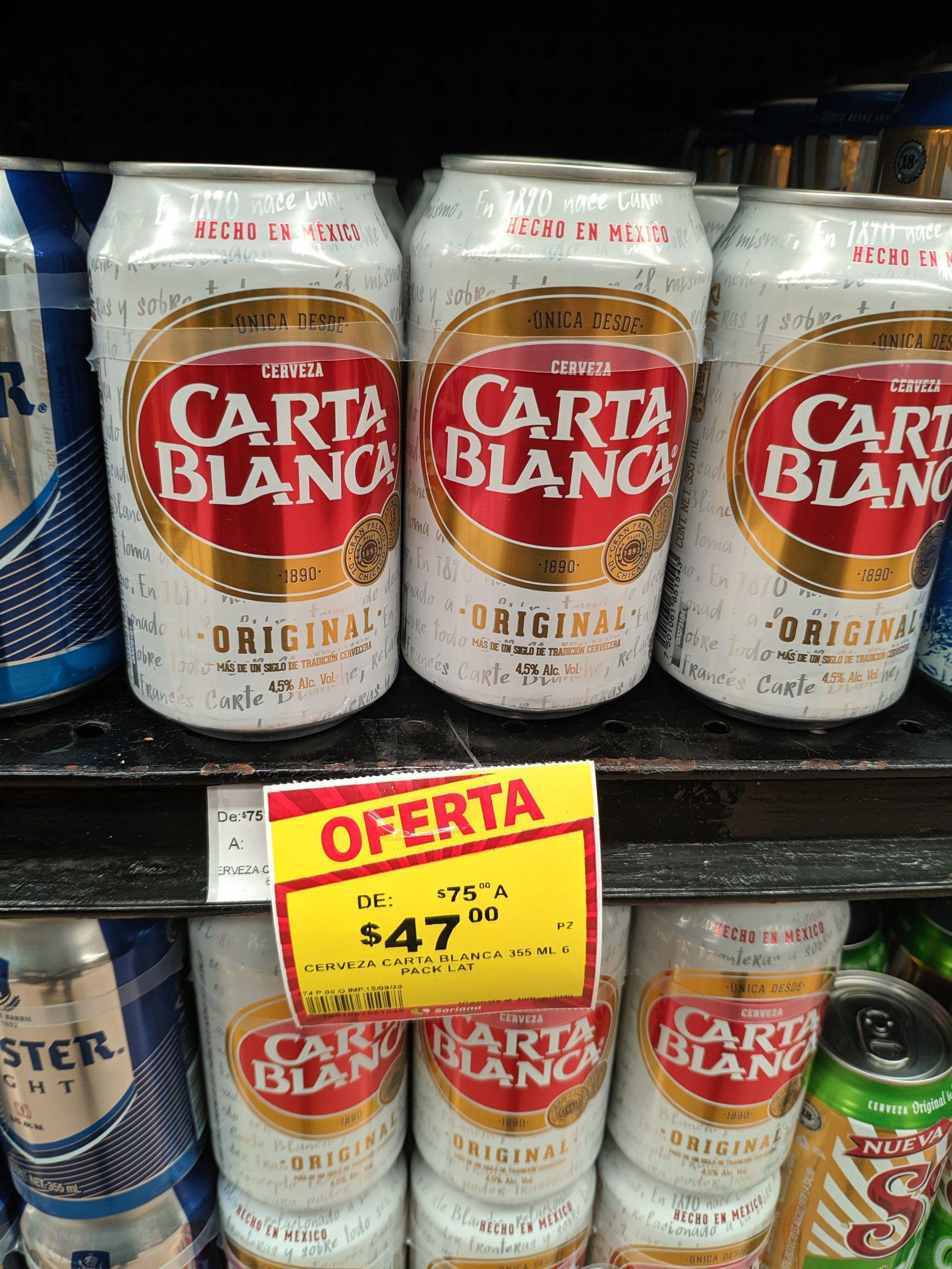 Soriana: Cerveza six carta blanca lata de 75 a 47