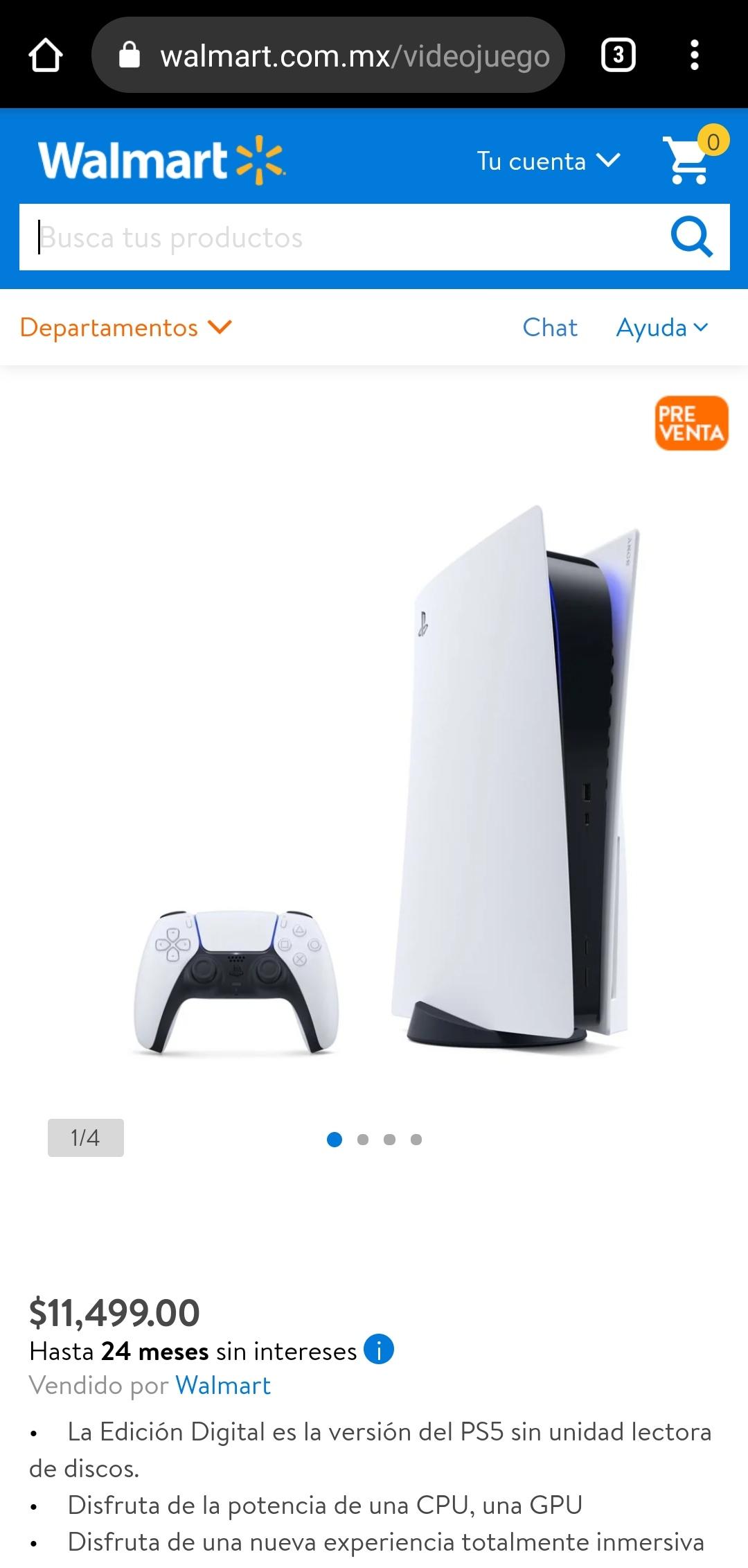 Walmart en línea: Consola PS5 Edición Digital - Aplica MSI