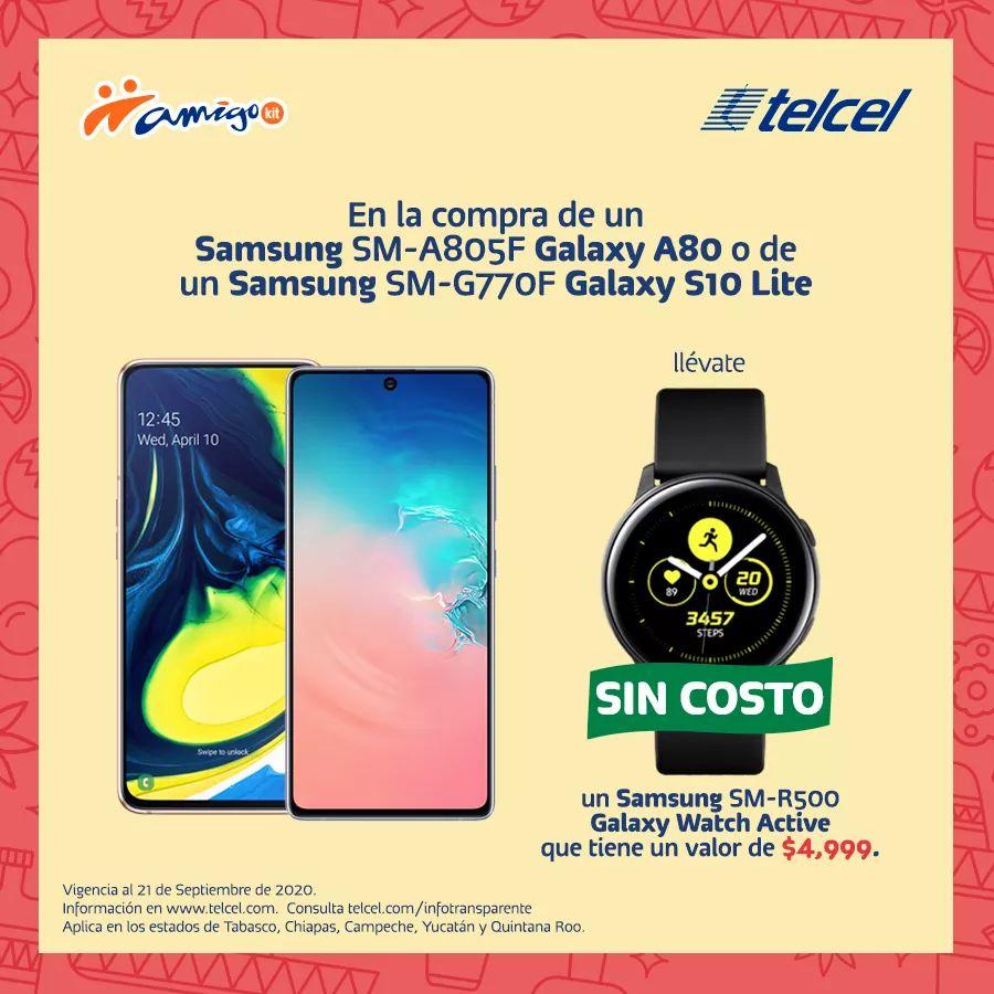 Telcel Samsung Galaxy Watch Active de regalo al comprar un A80 o S10 lite