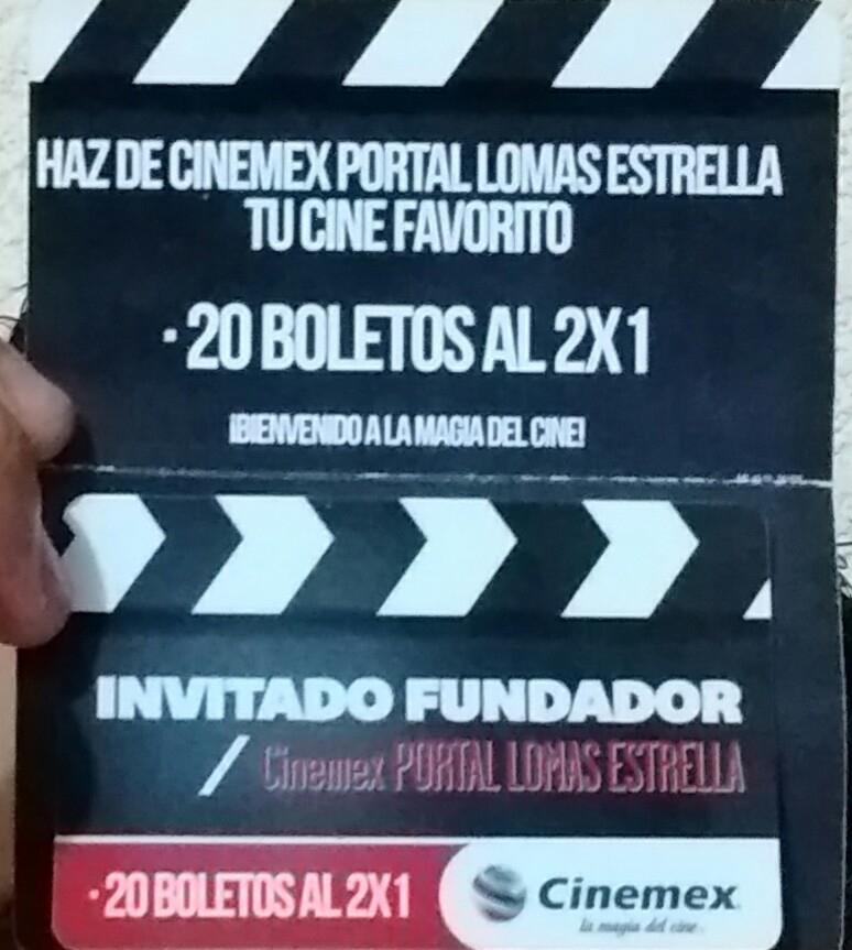 Cinemex Lomas Estrella: tarjeta de 20 boletos al 2x1 sólo en este cine