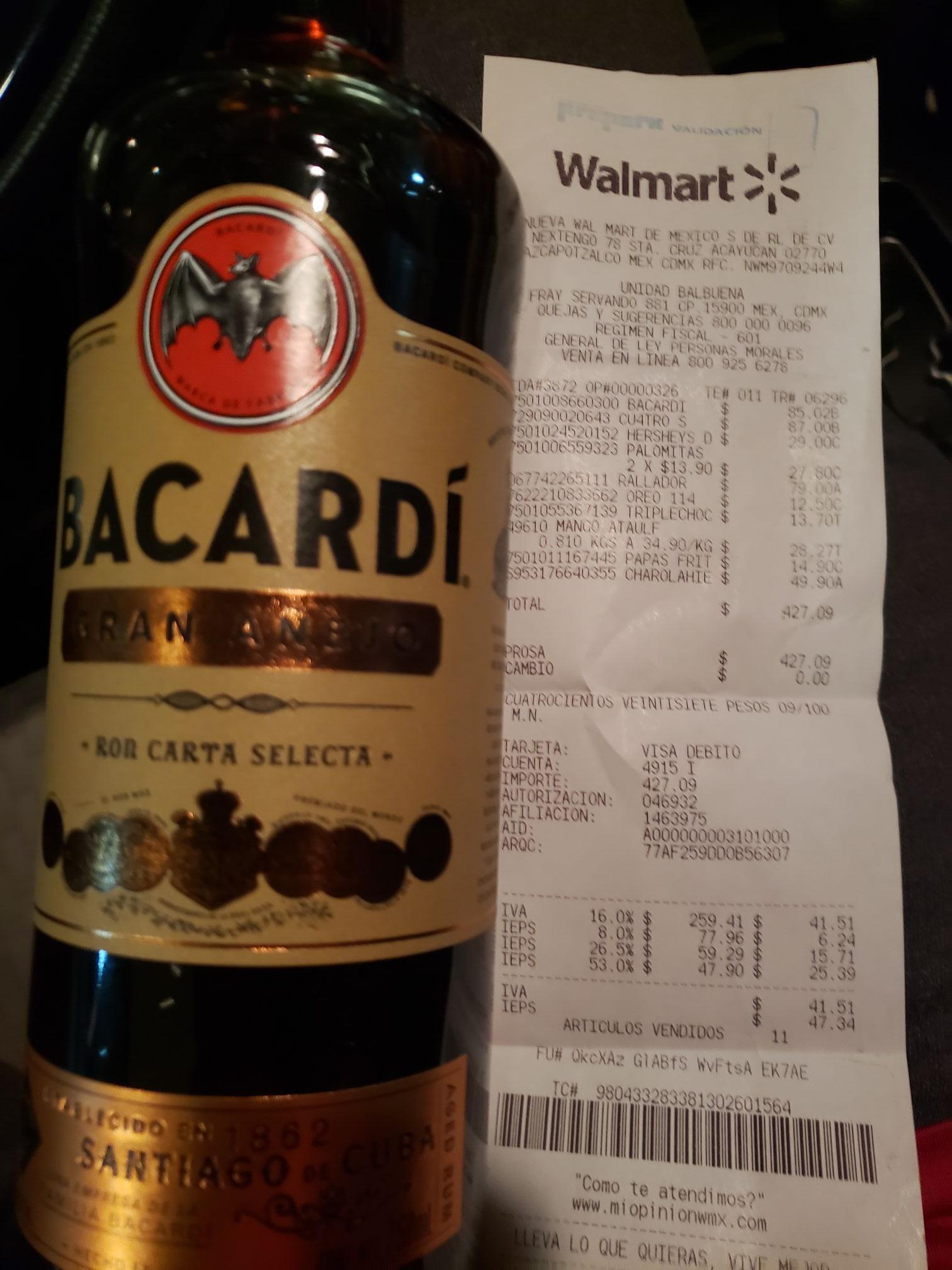 Walmart: Bacardí Gran Añejo en Segunda Liquidación