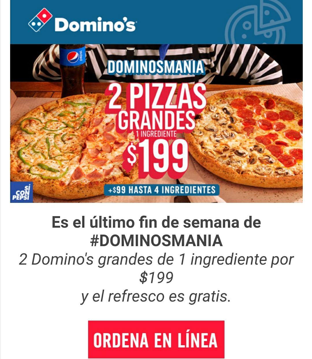 Pizza Domino's grande 2x1