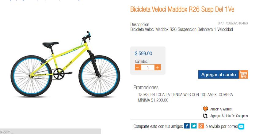 Chedraui Cruz del Sur, Puebla: Bicicleta Veloci Maddox R26 $599