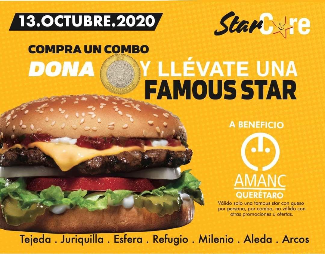 Carls JR Querétaro y Fundación Amanc: Famous Star en $10 en la compra de cualquier combo