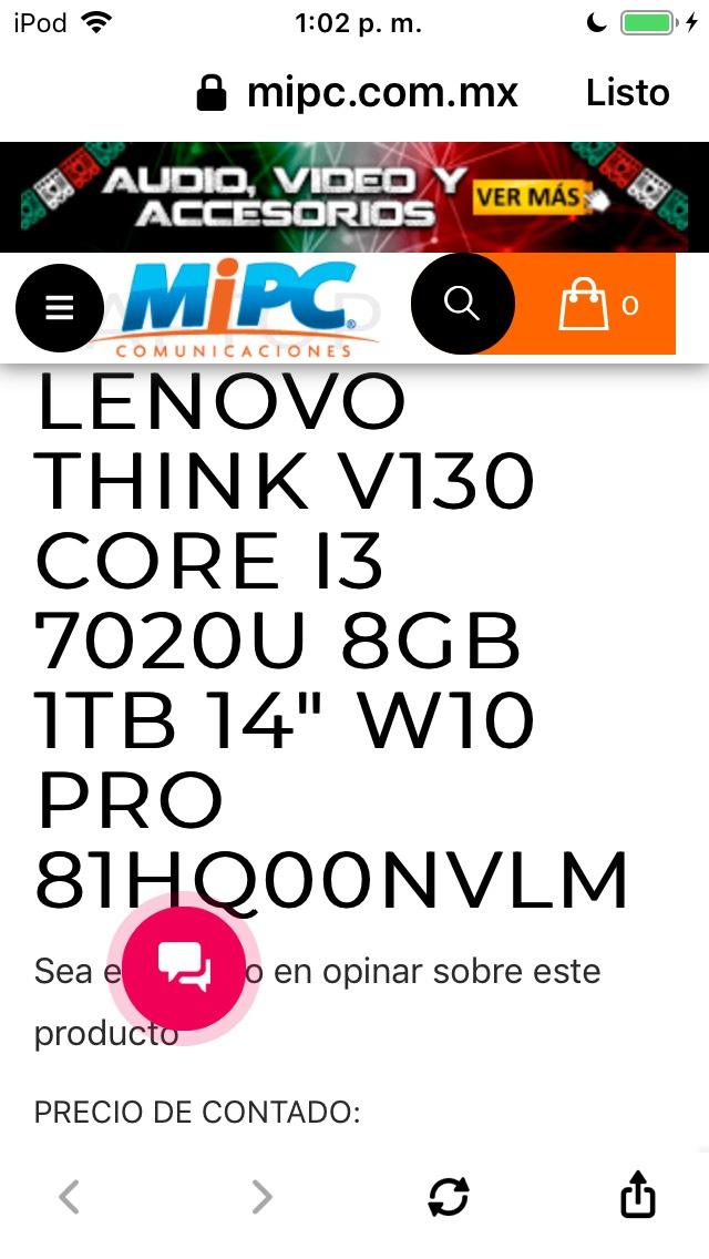 MiPc: Laptop Lenovo Think V130