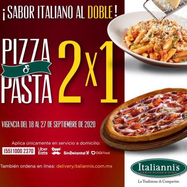 Italianni's: 2x1 en Pasta y Pizza y otras promociones.