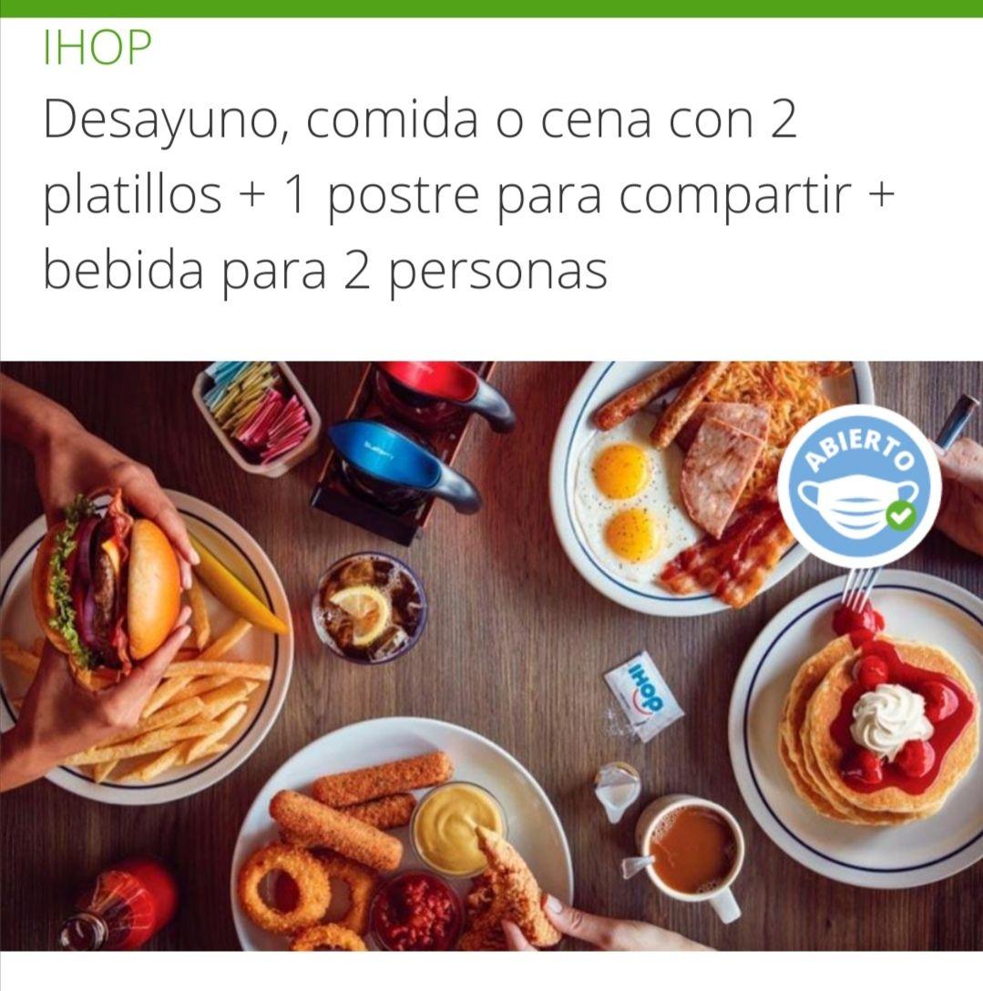Groupon / Peixe: IHOP Desayuno, comida o cena 2 personas (hasta 3 pagos sin intereses)