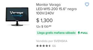 "Linio: MONITOR VORAGO LED-W15-200 15.6"" WIDESCREEN NEGRO"