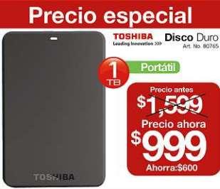 OfficeMax: disco duro portátil Toshiba de 1TB $999