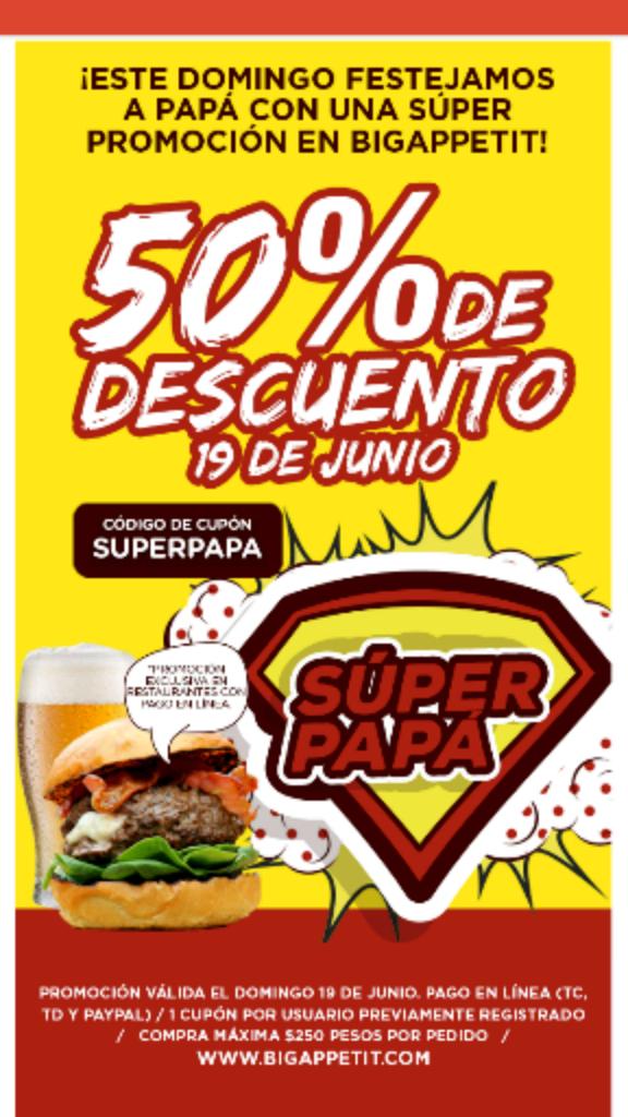 Bigappetit: 50% de descuento solo hoy en restaurantes con pago en linea (CDMX y GDL)