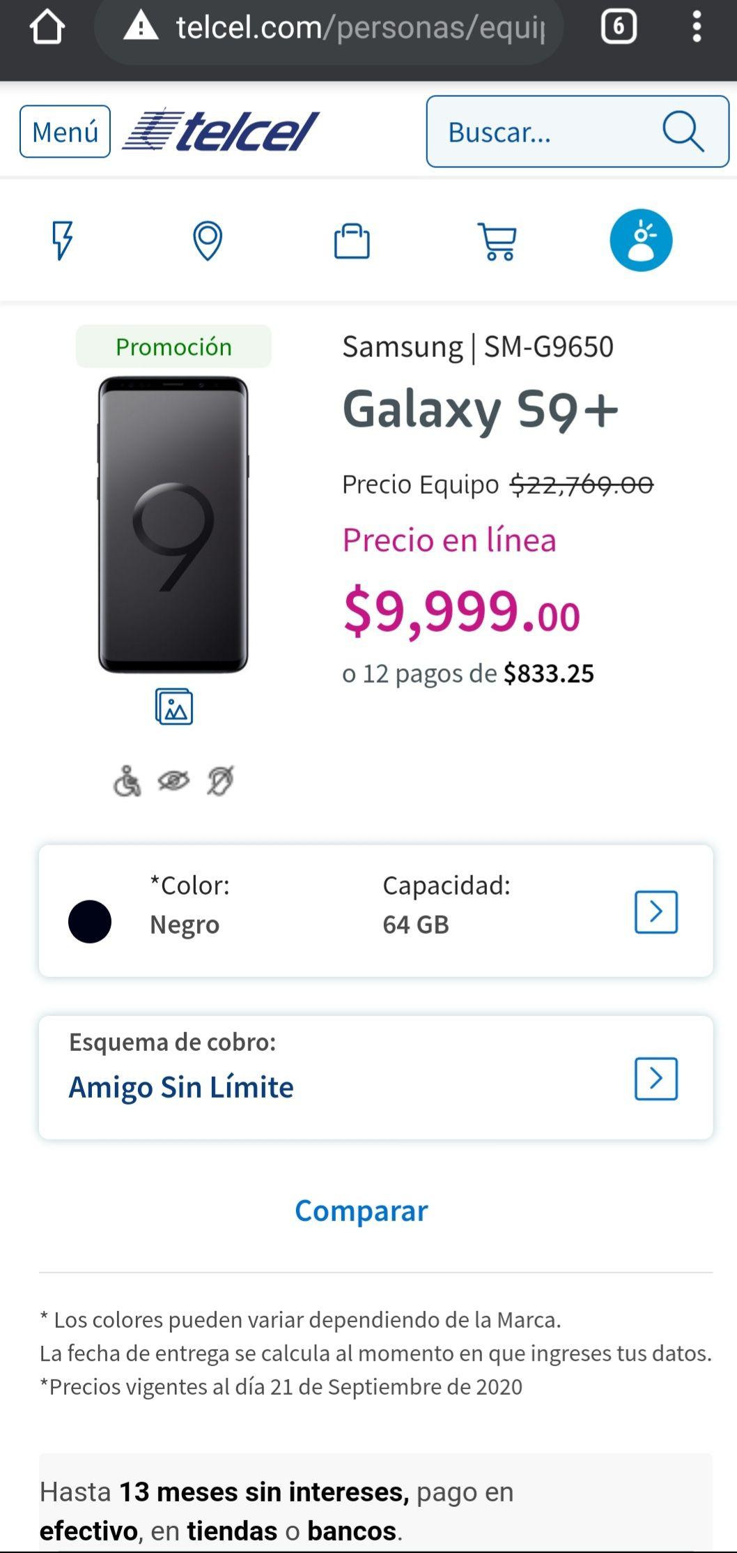 Samsung S9+ Telcel en línea.