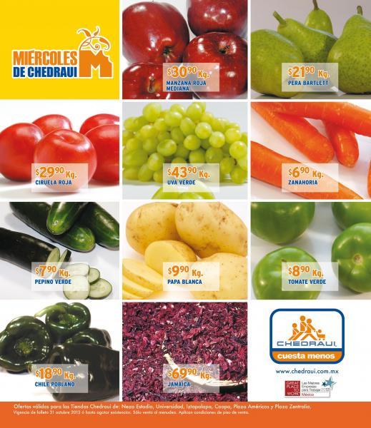 Miércoles de frutas y verduras Chedraui octubre 31 y pan de muerto al 2x1