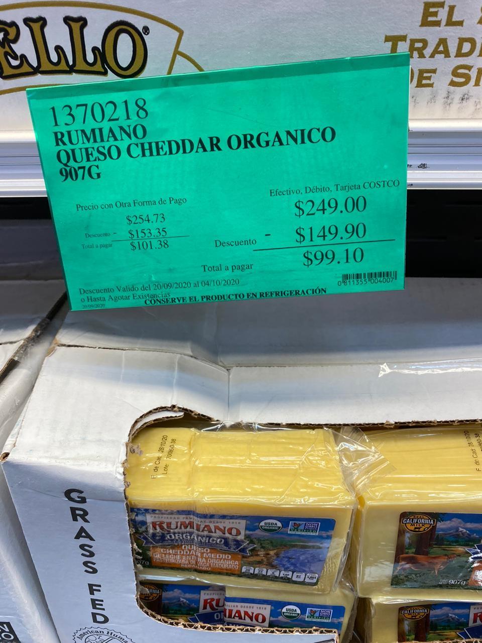 Costco: Queso cheddar orgánico