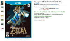 Amazon México: Preventa: Zelda: Breath of the Wild para Wii U a $1,119