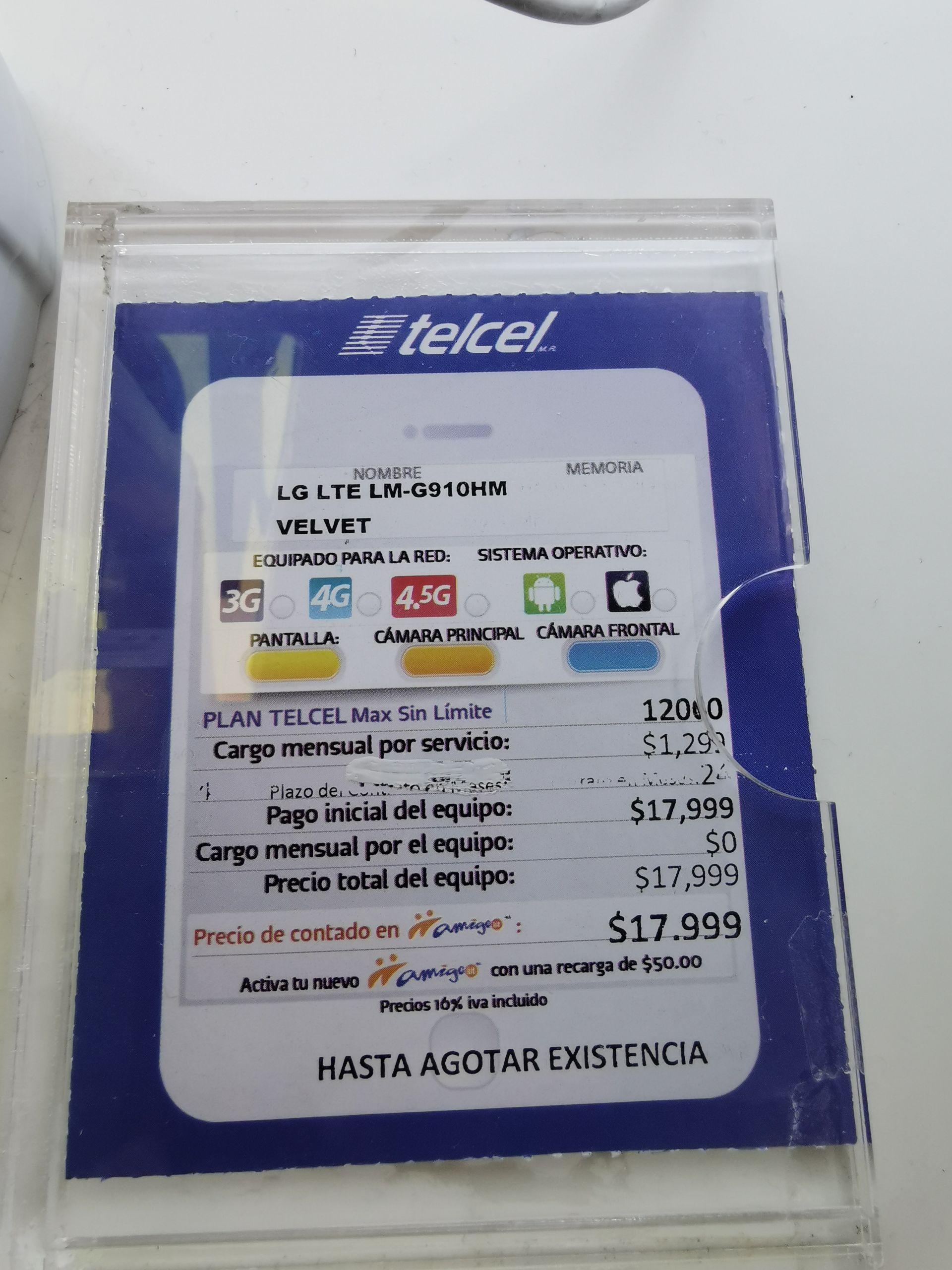 Teclel: Lg velvet gratis a partir del plan de $499