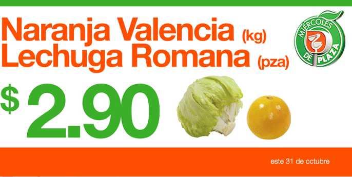 Miércoles de Plaza en La Comer octubre 31: lechuga y naranja $2.90 y más