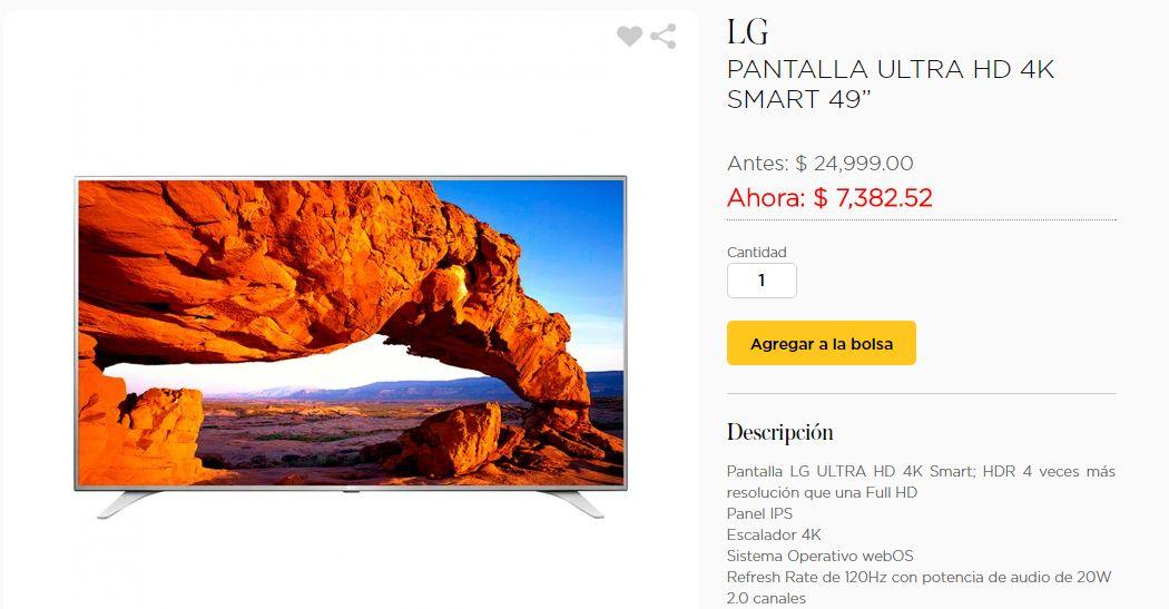 Palacio de Hierro: Pantalla LG Ultra HD 4K 49'' a $7,382.52 y más.