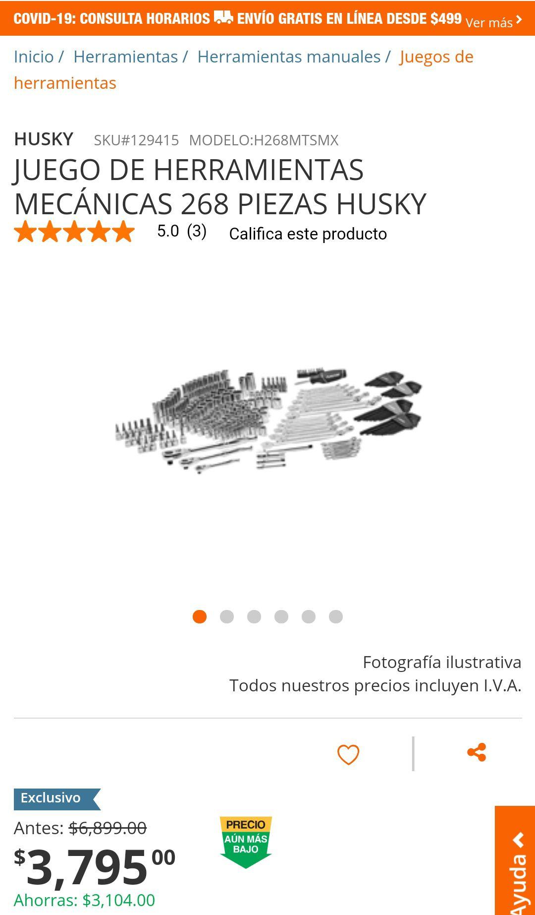 Home Depot: JUEGO DE HERRAMIENTAS MECÁNICAS 268 PIEZAS HUSKY