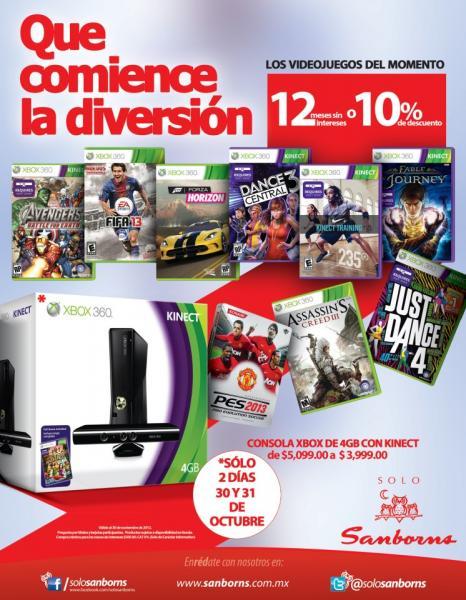 Sanborns: Xbox 360 con Kinect $3,999 y 10% de descuento o 12 MSI en videojuegos