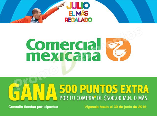 Promoción de Julio Regalado en Comercial Mexicana: 550 puntos Payback ($55) por cada $500 de compra en toda la tienda