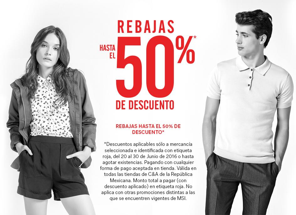 C&A: hasta 50% de descuento en Pantalones, playeras, camisas, zapatos, accesorios y más