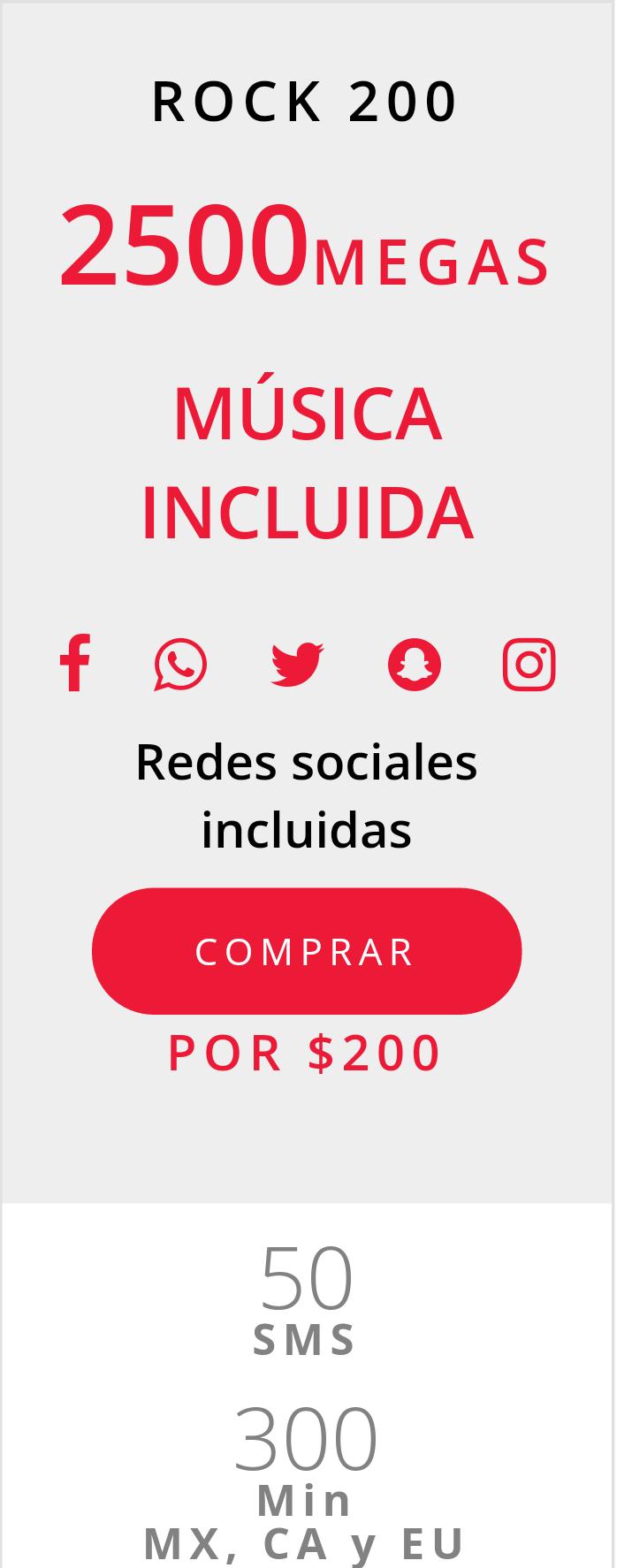 Virgin Mobile: $200 pesos por 2.5 GB + streaming de música ilimitado + Facebook, WhatsApp, Twitter, Snapchat, e Instagram ilimitados