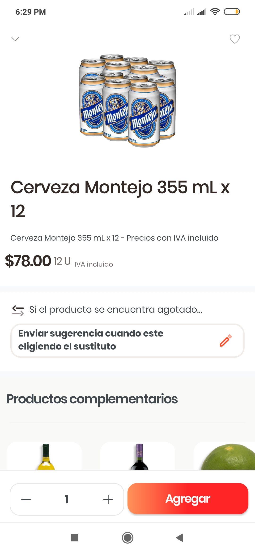 Rappi y Chedraui Mérida: 12 Pack Cerveza Montejo