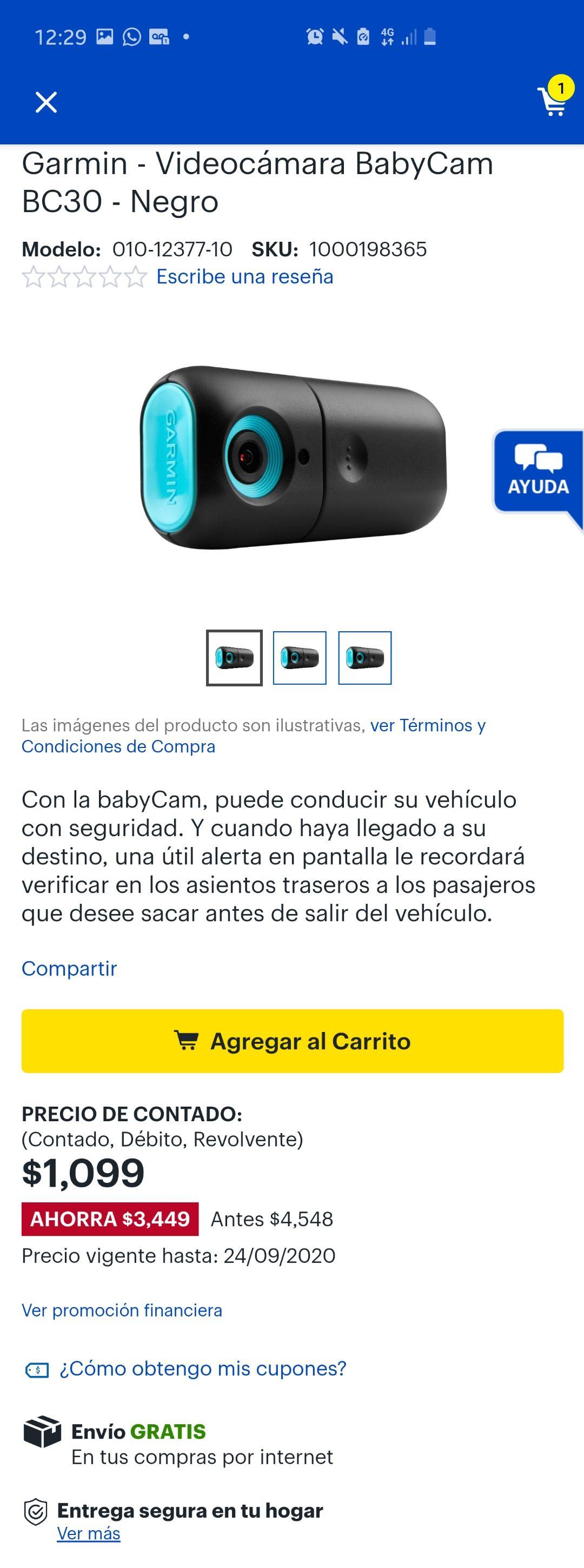 Best Buy: Garmin - Videocámara BabyCam BC30 - Negro