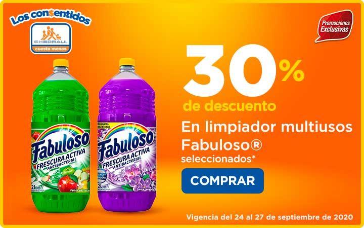 Chedraui: 30% de descuento en limpiador multiusos Fabuloso 2 L Lavanda y Pasión de Frutas