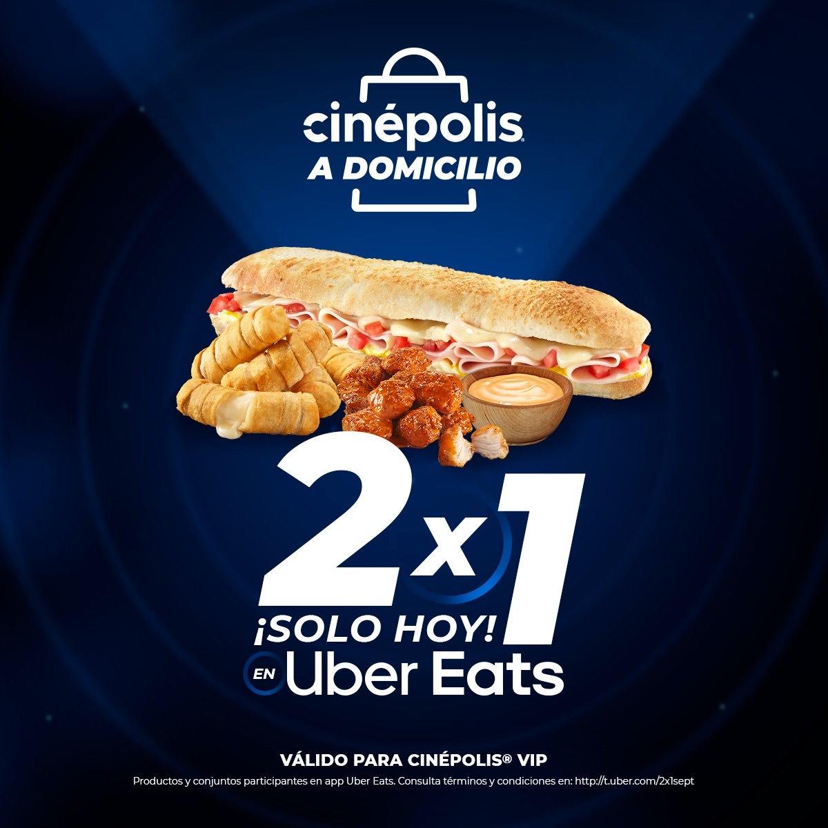 Uber Eats y Cinépolis vip: baguis 2x1
