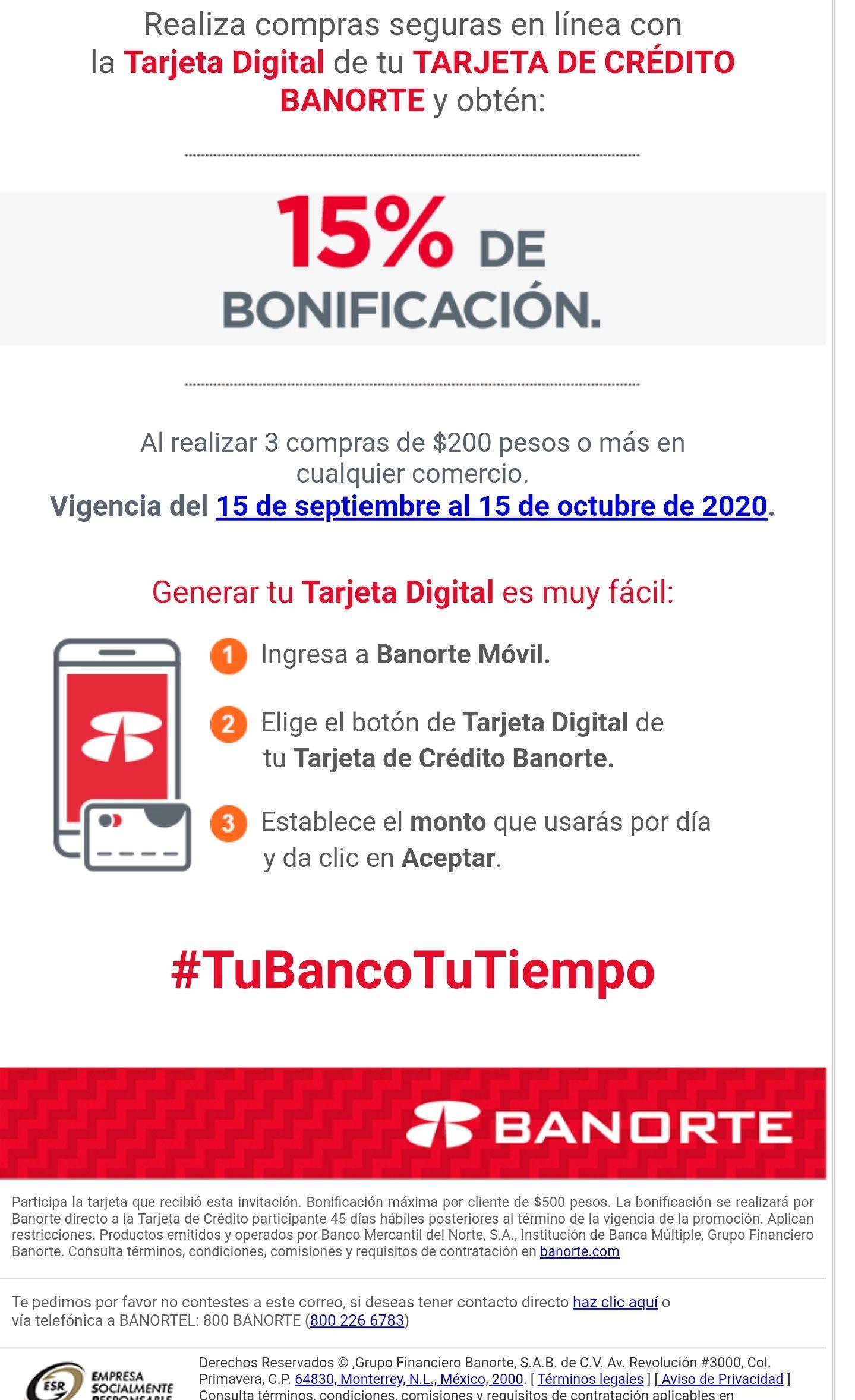 Banorte: 15% reembolso con TDC digital al realizar 3 compras de min 200 pesos (usuarios con invitación)