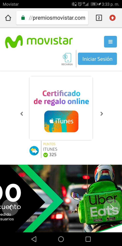 Movistar: Certificado de regalo iTunes 300 peso por 325 puntos