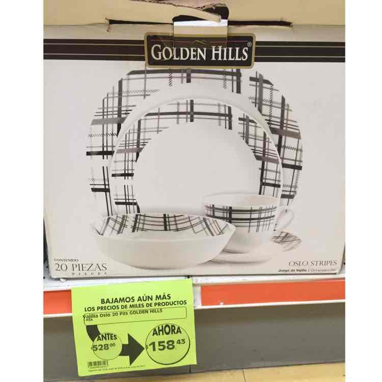 Comercial Mexicana Mega: Vajilla 20 piezas Golden Hills de $528 a $158