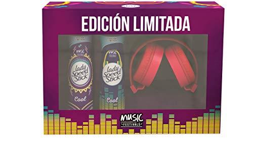 Amazon: Lady Speed Stick Desodorante Music Festival, 91 Gr, 2 Piezas + Audifonos Rojo, Pack of 1