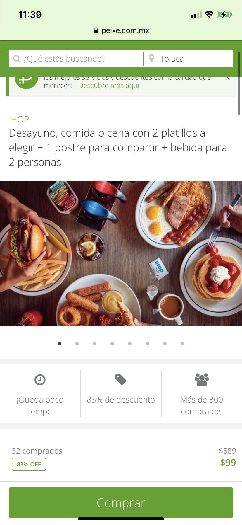 Groupon / Peixe: Ihop $99 por 2 platos fuertes a elegir + 1 postre +2 bebidas