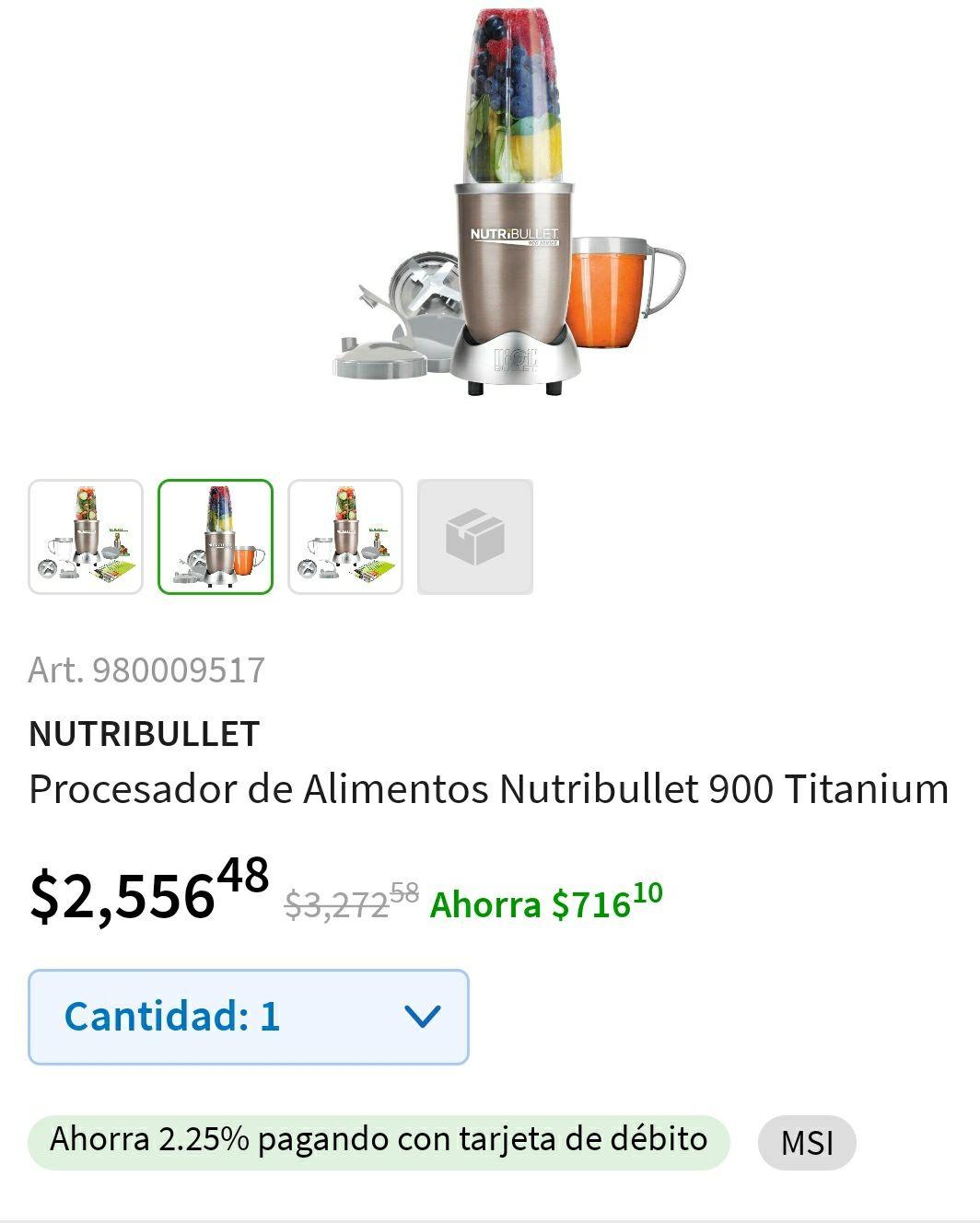 Sam's Club: Nutribullet 900w, $2556 .Descuento de $700