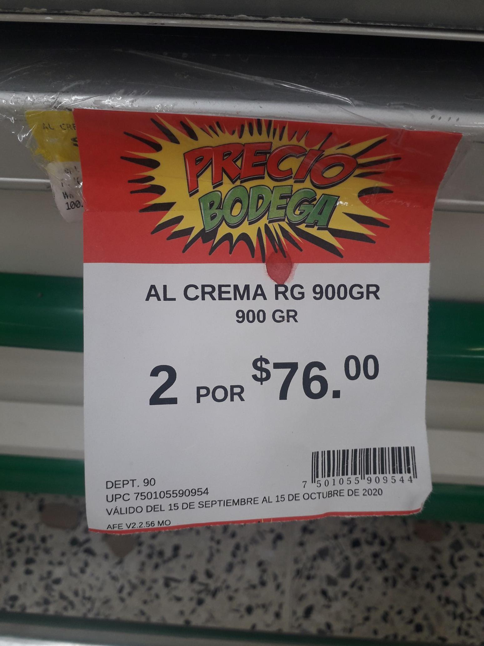 Bodega Aurrera: Crema Alpura 1 litro (2x$76)