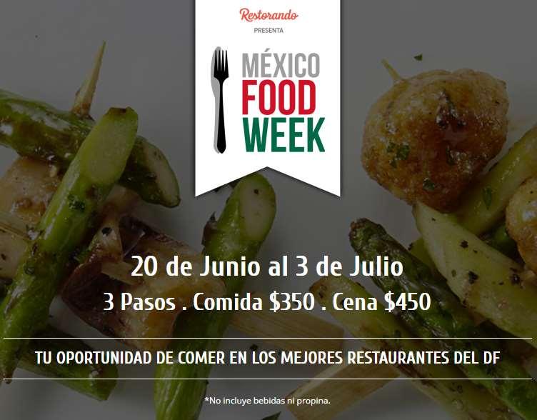 Mexico Food Week: elige entre 31 restaurantes a $350 comida y $450 cena (DF)