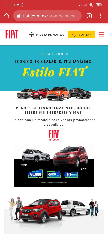 Fiat Mobi y Uno con descuento de $30,000 o 3 años de seguro gratis o 30 meses sin intereses