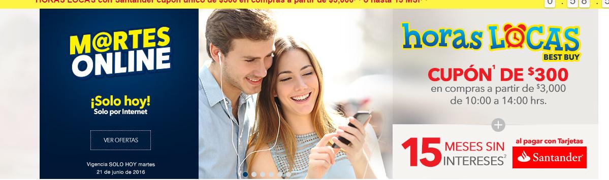Best Buy en línea: Horas Locas, cupón de $300 en compras mayores a $3,000 + 15 MSI pagando con Santander