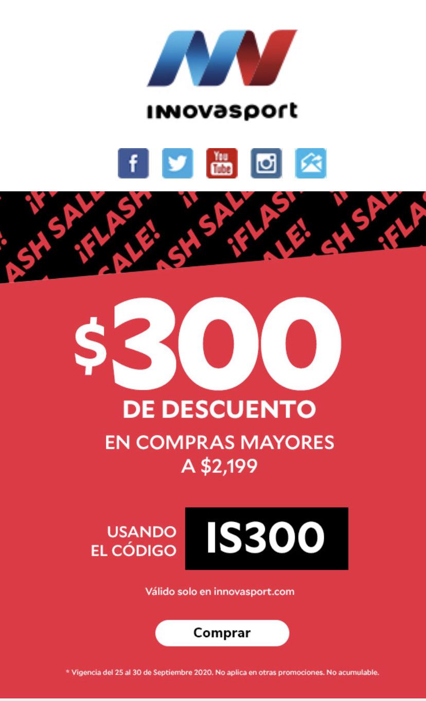 Innovasport: Cupón $300 de descuento (mínimo $2,200)