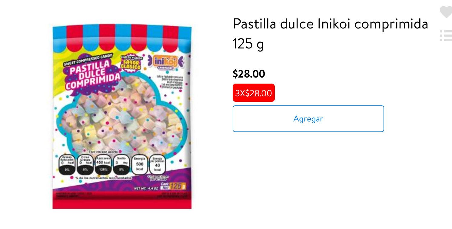 Walmart online: Pastilla dulce Inikoi comprimida 125 g al 3x1