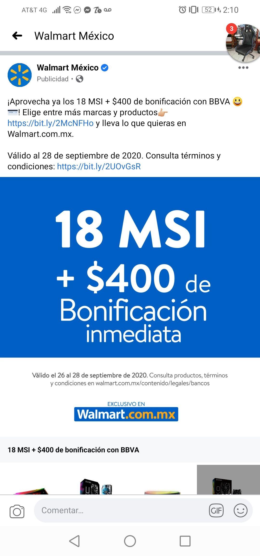 Bonificacion inmediata de $400 con crédito bbva en Walmart * compra minima 4000*