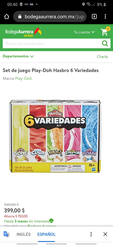 Bodega Aurrera: Play Doh 6 variedades Slime en $399... su precio oscila entre los $550 y $700