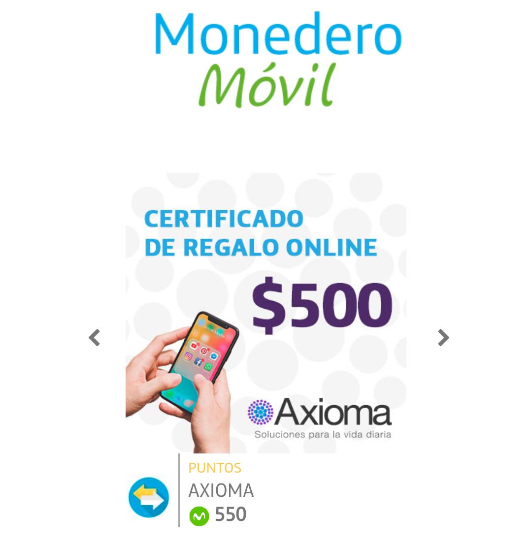 Movistar VIP: Certificado de Regalo Online Axioma $500 con 550 puntos