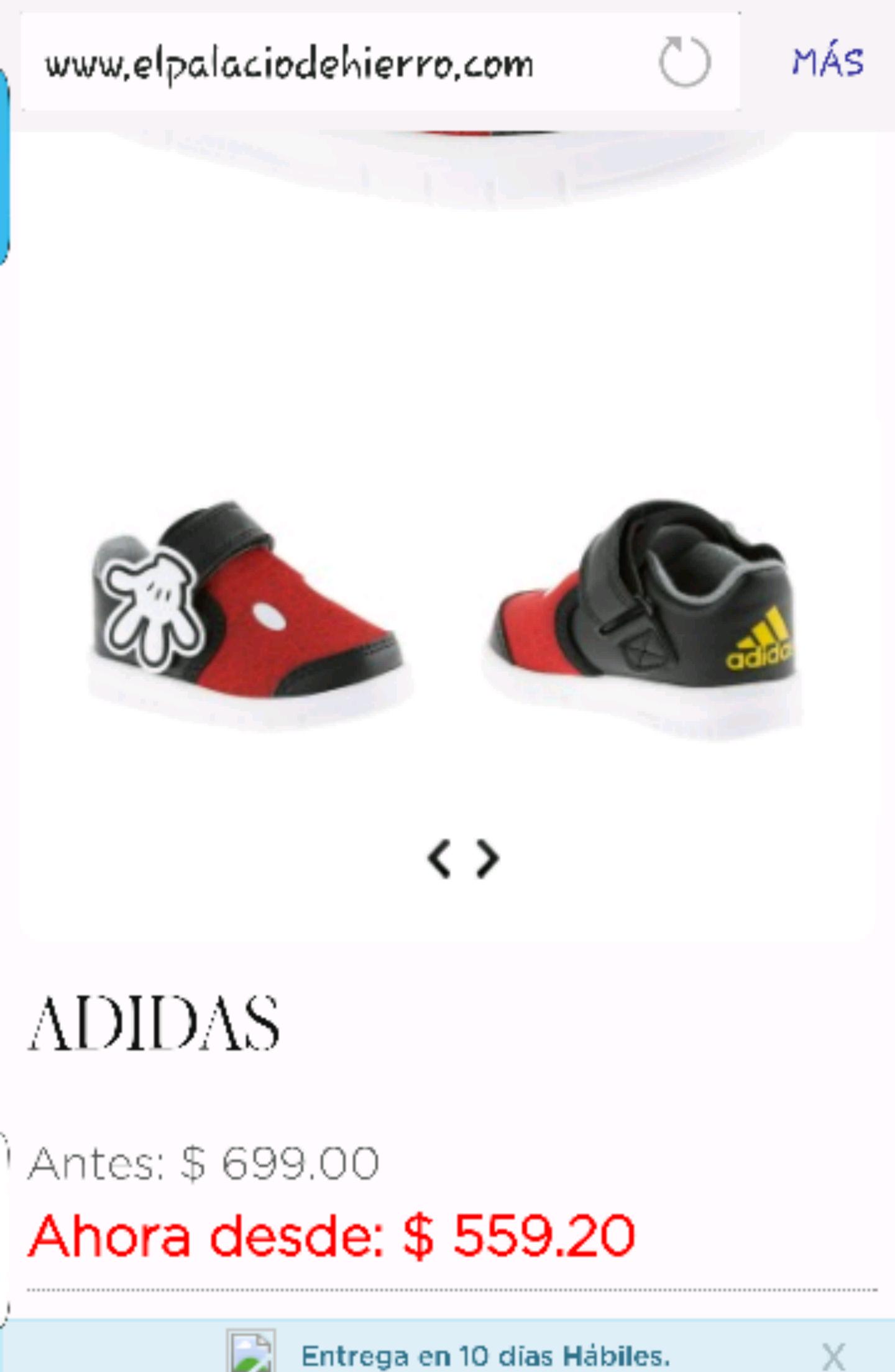 Palacio de Hierro en línea: Tenis de niño marca Adidas de mickey $700 a $560