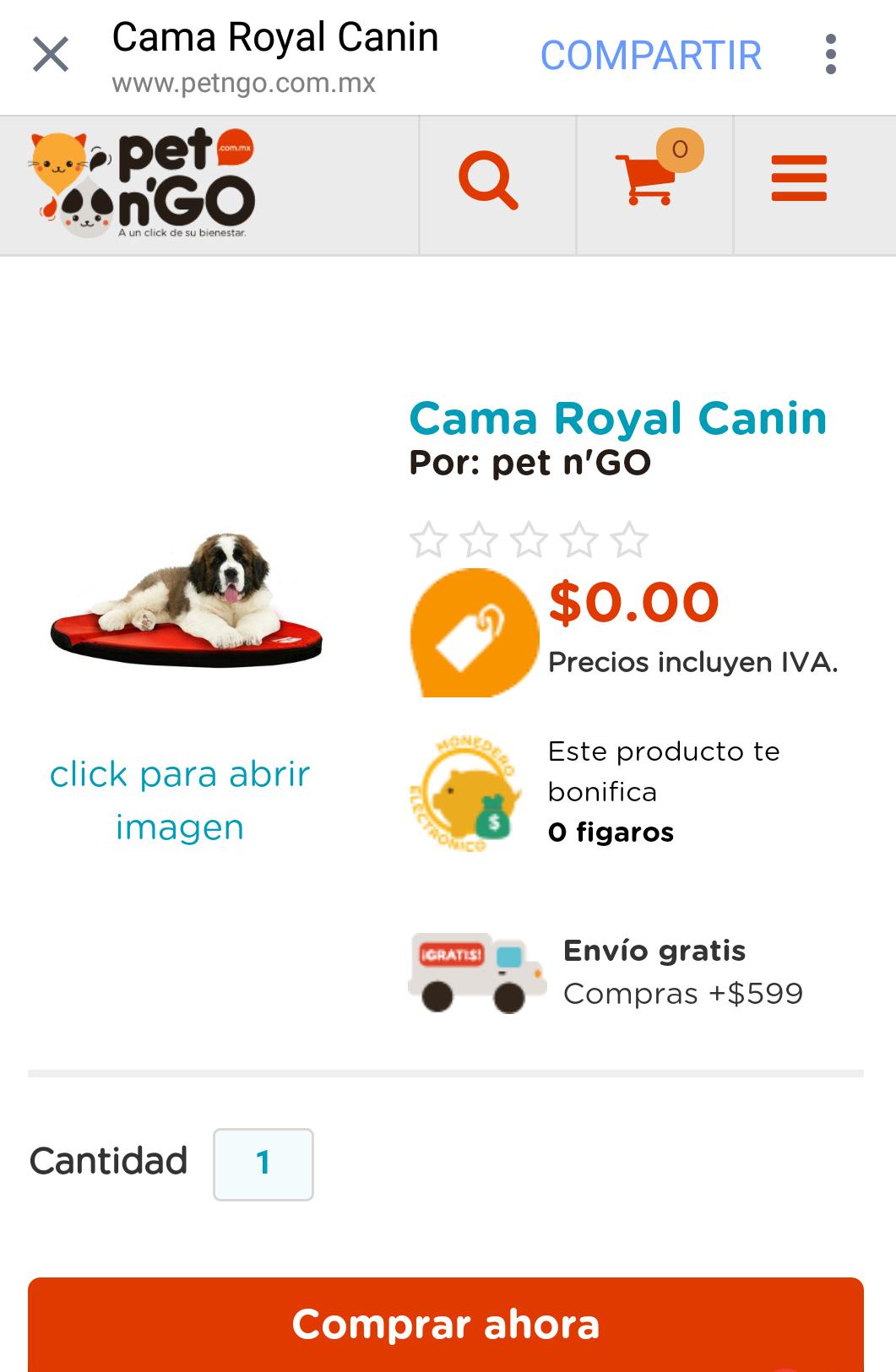 pet n'GO: cama Royal Canin solo pagando envío
